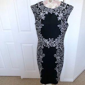 R & K Black and White Floral Pattern Scuba Dress